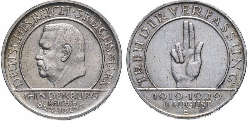 10 лет Веймарской конституции (3 рейхсмарки)