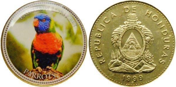 Гондурас 10 сентаво, 1999 год. Попугай Радужный лорикет