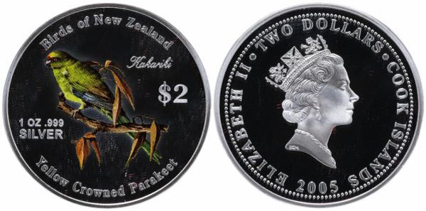 Острова Кука 2 доллара, 2005 год. Попугай Какарик