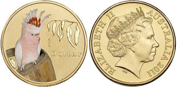 Австралия 1 доллар, 2011 год. Попугай Какаду инка