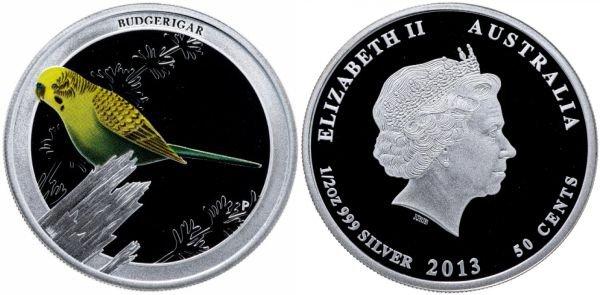 Австралия 50 центов, 2013 год. Волнистый попугай