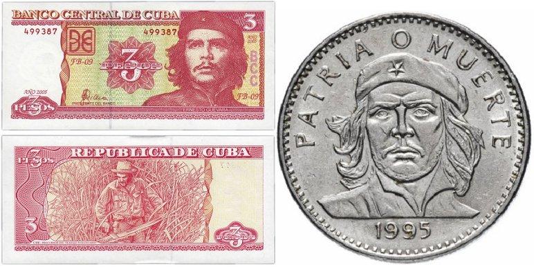 Банкнота 3 песо, 2005 г.; монета 3 песо, 1995 г.