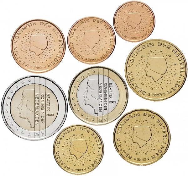 Монеты евро Нидерландов 1999-2013 гг., королева Беатрикс