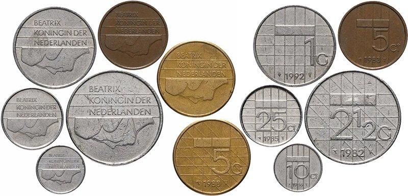 Циркуляционные монеты Нидерландов на момент введения евро