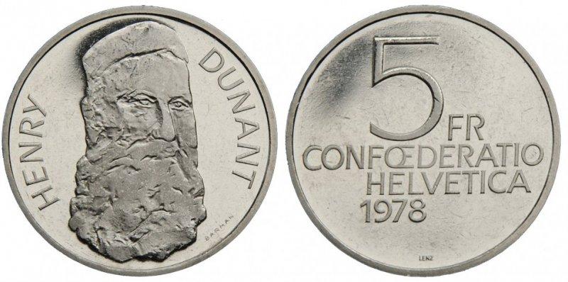 Швейцария, 5 франков 1978 года, Анри Дюнан (1828-1910)