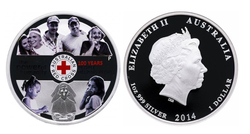 Австралия, 1 доллар 2014 года, 100-летие Австралийского Красного Креста