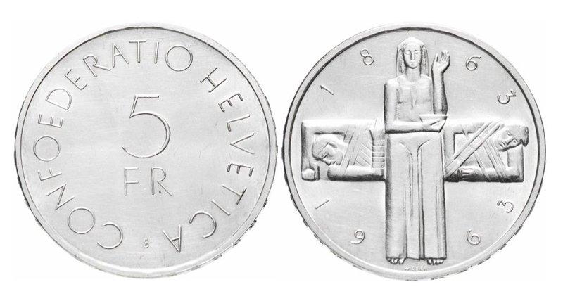 Швейцария, 5 франков 1963 года, 100-летие Международного Красного Креста