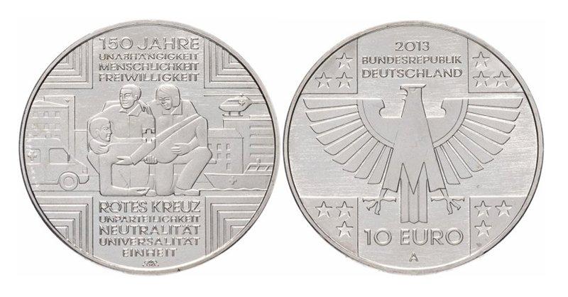 Германия, 10 евро 2013 года, 150-летие Немецкого Красного Креста