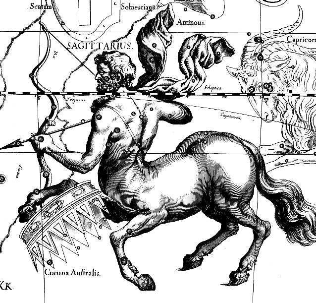 Созвездие Стрельца в звёздном атласе Яна Гевелия