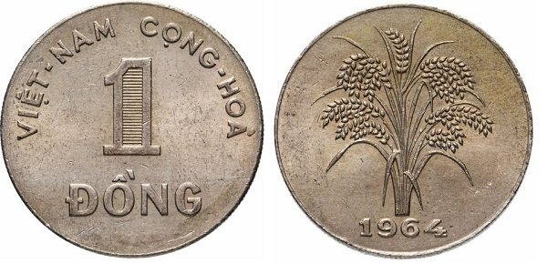 1 донг. Южный Вьетнам. 1964 год. Мельхиор. Парижский монетный двор