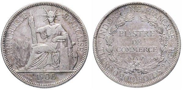 1 пиастр Французского Индокитая. 1900 год. Серебро