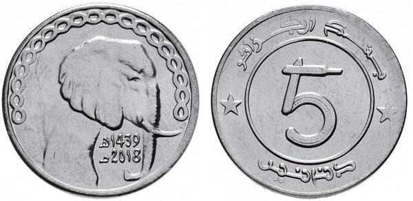 5 динаров 2018 год. Алжир. Нержавеющая сталь