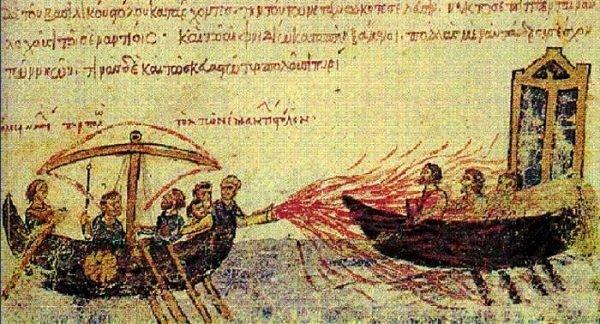Византийцы сжигают арабский флот «греческим огнем». Миниатюра из средневековой хроники