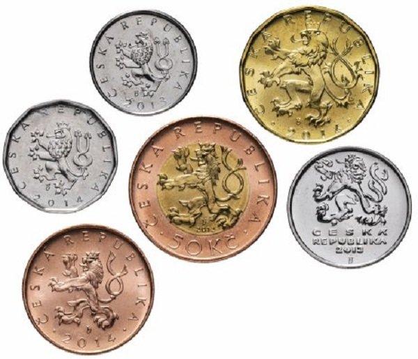 Набор монет Чехии различных номиналов. 2009-2014 гг.