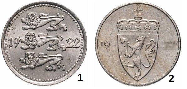 Геральдические львы на 5 марках Эстонии, 1922 год; 2 – гербовый лев на монете номиналом 50 эре, Норвегия, 1974-1996 гг.