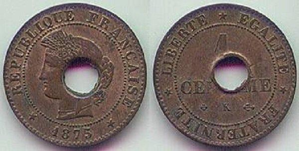 1 сапек, переделанный из французского сантима. 1875 год. Колония Французская Кохинхина