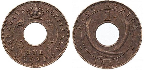 1 цент. Британская Восточная Африка. 1951 год. Георг VI. Бронза