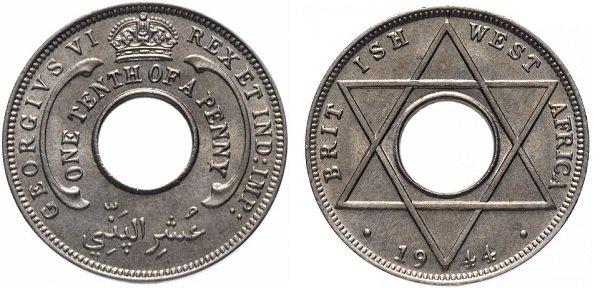 1\10 пенни. Британская Западная Африка. 1944 год. Георг VI. Мельхиор