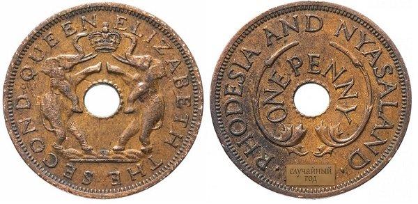 1 пенни. Британская колония Родезия и Ньясаленд. 1955-1963 гг. Елизавета II. Бронза