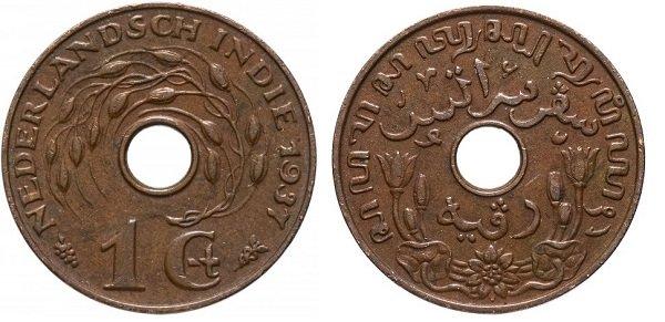 1 цент. Голландская Ост-Индия. 1937 год. Монетный двор Утрехта. Бронза