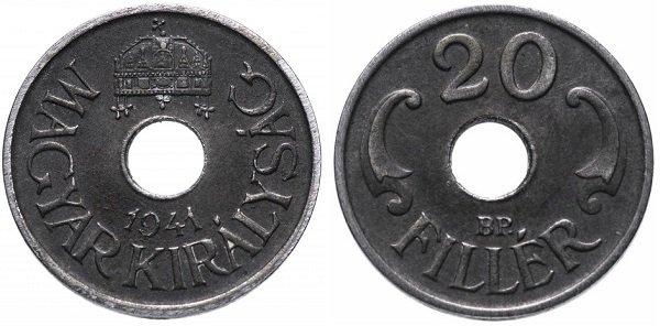 20 филлеров. Венгрия. 1941 год. Сталь с покрытием