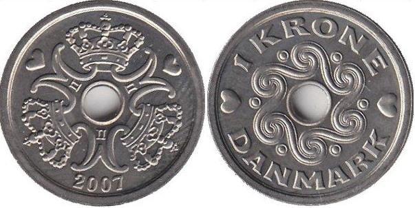 1 крона. Дания. 2007 год. Медно-никелевый сплав