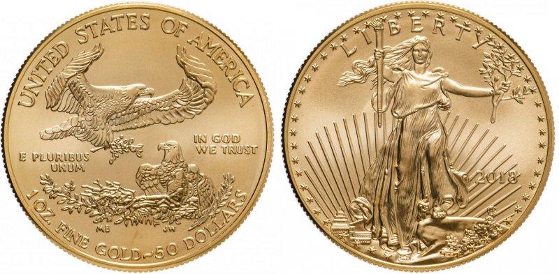 США. 50 долларов 2018 года «Американский золотой орёл»