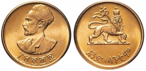 1 цент. Эфиопия. 1944 (1936) год. Эфиопия. Хайле Селассие I. Медь