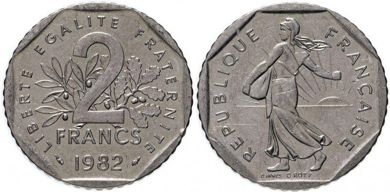 2 франка 1982 года