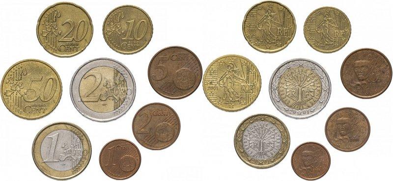 Годовой набор монет евро 2001 года Парижского монетного двора