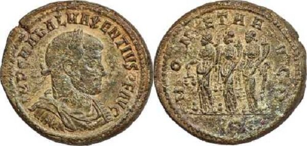 Медальон римского императора Максенция (нач. IV в.). На реверсе – три персонификации золотой, серебряной и медной монеты с весами и рогами изобилия. У ног каждой – стопки сложенных монет. В 2019 году на Heritage Auctions аналогичный медальон был продан за 11 тысяч долларов