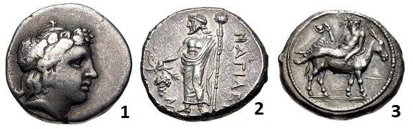 1 - Голова юного Диониса с венком из плюща на гемидрахме. Фессалия, Ламия. 400-375 гг. до н.э. Серебро. 2,8 г. 2 – Дионис с виноградной гроздью и жезлом в руках. Статер греческого города Нагидос, Киликия. 400-385 г. до н.э. Серебро. 10,8 г. 3 – пьяный Дионис с чашей в руке, лежащий на осле. Македонская тетрадрахма. 460-423 г. до н.э. серебро. 17 г