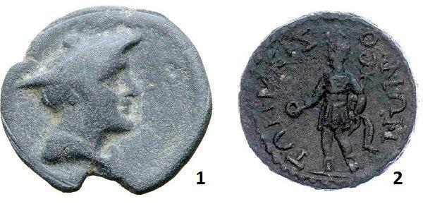 1 – Гермес в шляпе-петасосе на свинцовой тессере. Херсонес Таврический. Около 200 г. до н.э. 2 - Меркурий с венком и кадуцеем в руках на медном тремиссе. Римская провинция Писидия. III век