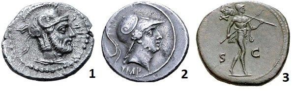 1 – голова Ареса в шлеме на медном оболе. Киликия, Тарсос. 378-372 гг. до н.э. 2 - Голова Марса в шлеме на денарии Октавиана. 29-27 гг. до н.э. Серебро. 4 г. 3 – шагающий обнаженный Марс с копьем и трофеями на плече. Сестерций Антонина Пия. 147 год. Медь. 25 г