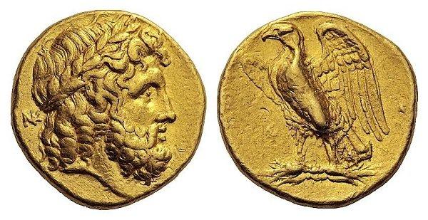Голова Зевса и орел на пучке молний на статере греческого города Тарента (Калабрия, юг Апеннинского п-ова) . 276-272 г. до н.э. Золото. 8,53 г