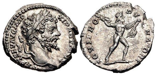 Шагающий вправо, размахивающий пучком молний, обнаженный Юпитер на денарии императора Септимия Севера. 193-211 гг. Серебро. 2,8 г