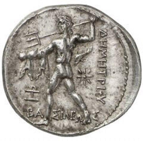 Обнаженный Посейдон с трезубцем на тетрадрахме македонского Деметрия I Полиоркета. 294-293 г. до н.э. Серебро. 17,2 г