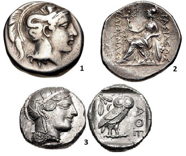 1 - голова Афины в хохлатом аттическом шлеме, украшенном Сциллой с трезубцем. Гераклея. Номос. 390-340 гг. до н.э. Серебро. 7,46 г. 2 – Афина Никифорисса (никоносица) на троне. Драхма македонского царя Лисимаха. 305-281 г. до н.э. Серебро. 4,25 г. 3 – Голова Афины в шлеме, сова и олива на тетрадрахме Афин. 454-404 гг. до н.э. Серебро. 17,16 г