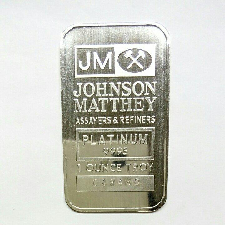Логотип фирмы «Джонсон Матти» на платиновом слитке