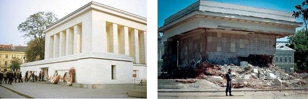 История социалистической Болгарии в двух фото. Мавзолей Г. Димитрова в Софии в 1980-е годы и после разрушения в 1999 году