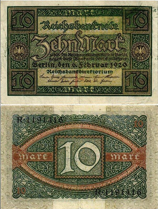 10 марок, Веймарская республика, 1920 год