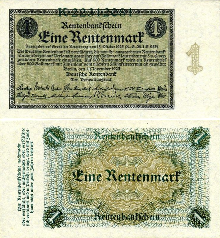 1 рентная марка, Веймарская республика, 1923 год