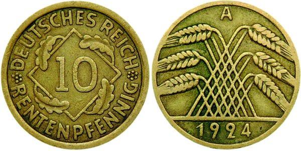 10 рентных пфеннигов, Веймарская республика, 1924 год