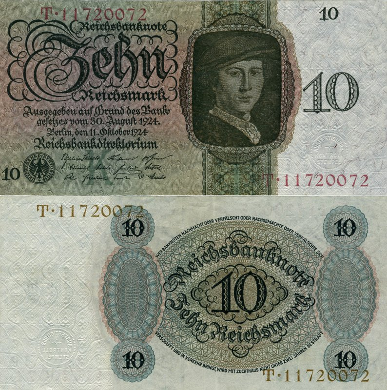 10 рейхсмарок, Веймарская республика, 1924 год