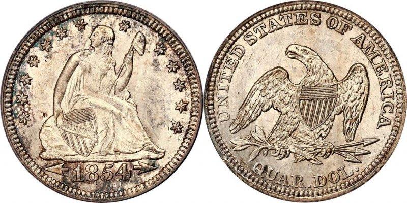 25 центов 1854