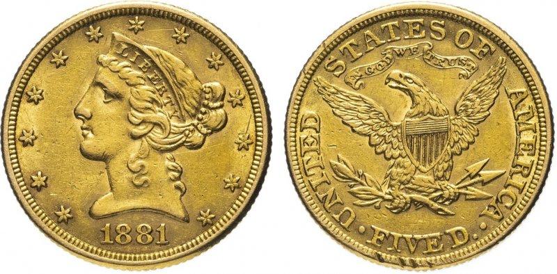 5 долларов 1881