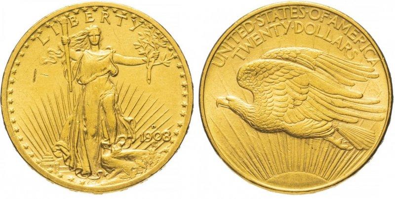 20 долларов 1908