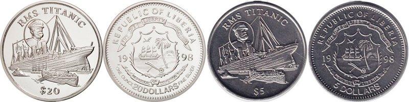 5 и 20 либерийских долларов «Гибель «Титаника», 1998 год