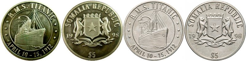 5 долларов «Титаник» из медно-никелевого сплава и серебра, 1998 год