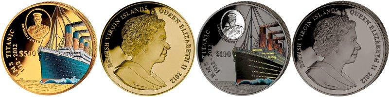 Монеты номиналами 500 и 100 долларов «100 лет гибели «Титаника»», 2012 год